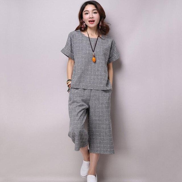 Été printemps automne femmes vêtements grande taille plus femelle coton  costumes de lin jambe large pantalon af92ba67870