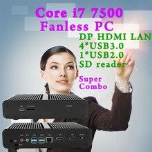 Mini PC Fanless Core i7 7500U Ordinateur De Bureau Windows 10 Nettop Intel NUC barebone systme Kabylake HTPC HD620 Graphique 4 K