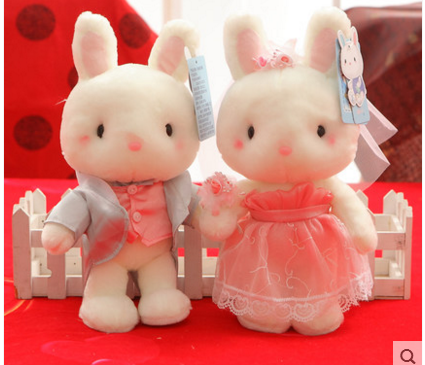 Super Quality 2pcs/lot 25cm Blue and White Bunny Baby Doll Couple Rabbit Plush Toys Stuffed Animal Dolls Wedding Doll&Gift