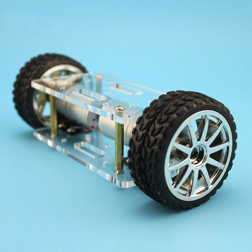 Mini Two-drive 2 Wheels Acrylic Plate Car Chassis Frame Self-balancing 2WD DIY Robot Kit 176*65mm Technology Invention Toys self balancing two wheeled robot