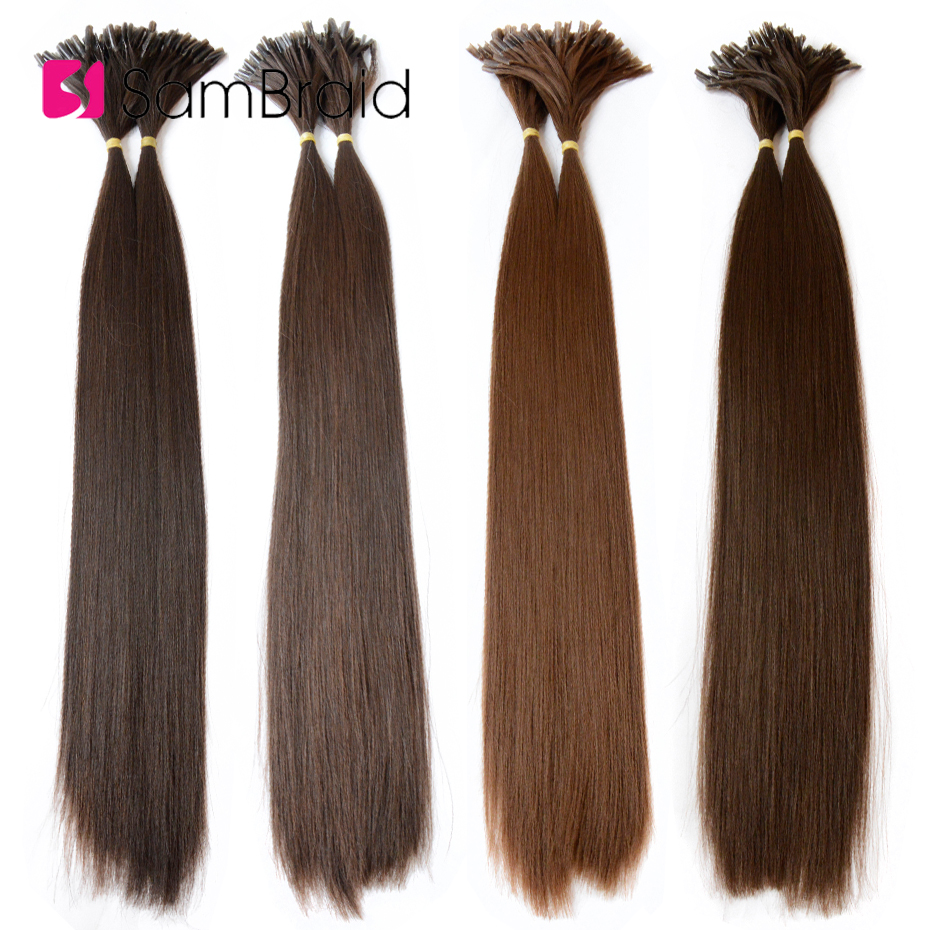 Sambraid 22 Inch Crochet Hair Extensions 100 Pc/pack 1g/Pc Goddess Long Straight Synthetic Braiding Hair Extensions For Women
