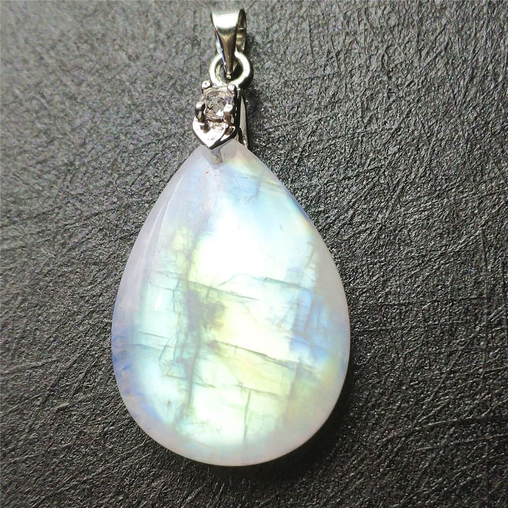 Natural Moonstone Necklace Pendant Blue Light Women Men Birthday Party Love Gift 27x19x8mm 925 Silver Crystal Pendant in Pendants from Jewelry Accessories