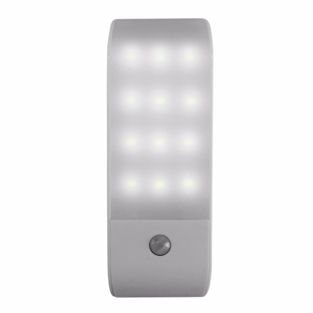 12 LED PIR Infrared Stick-on Rechargeable Wardrobe Night Light USB Motion Detector Induction Sensor Closet Corridor Lamp 5V