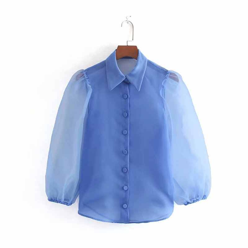 CS924 Women Chic Organza Puff Sleeve Turn Down Collar Blue Shirts Summer Fashion Blouse Tops