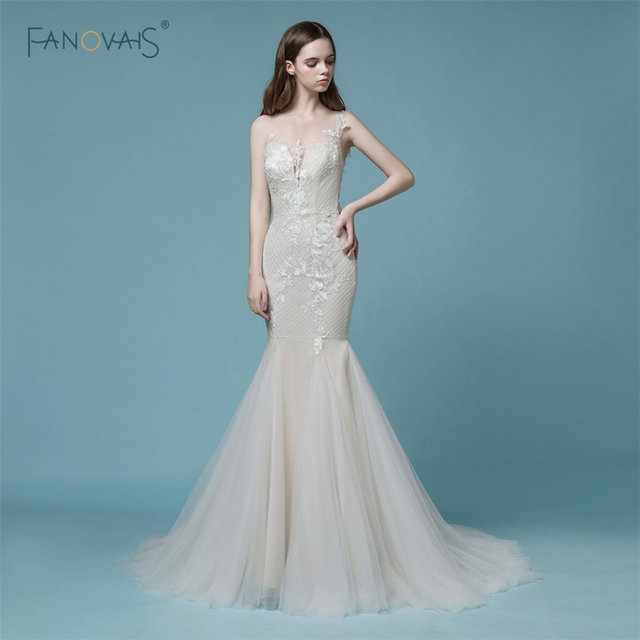 2019 Mermaid Wedding Dresses Lace Champagne Sheer Back Lace Wedding Gown Dress Bridal Tulle High Quality Wedding Party Dress NW9