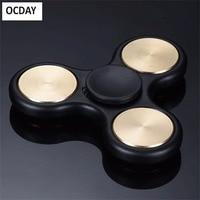 OCDAY Hand Finger spinner Tri-Spinner Brass Fingertip gyroscope Toys EDC Autism And ADHD Rotation Toy New arrival Fidget Spinner