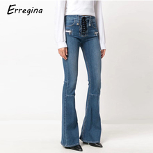 Erregina Women Pants Denim Skinny Jeans With Lace Up High Waist Jeans  Women's Flare Trousers Casual Demin Pencil Pants Blue new 2017 summer women skinny elastic jeans high waist stretching flare pants women s jeans blue trousers female casual jeans