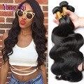 7A grau Brasileira onda do corpo do cabelo virgem 4 pcs lote preto natural color # 1b não transformados 10-26 ''cabelo humano barato cabelo yongtai