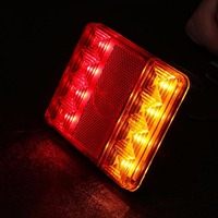 Likebuying Waterproof 8 LED Taillights Red Yellow Rear Tail Warning Light 12V For Trailer Truck Boat
