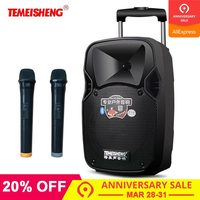 TEMEISHENG Lever 30W High Power Portable Loudspeaker Bluetooth Speaker Support Wirelss Microphone Outdoor Speaker MP3 Player
