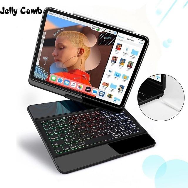 ג לי מסרק אלחוטי iPad מקלדת מקרה עבור iPad פרו 12.9 2018 מגן 7 צבעים תאורה אחורית Buletooth מקלדת עם עיפרון מחזיק