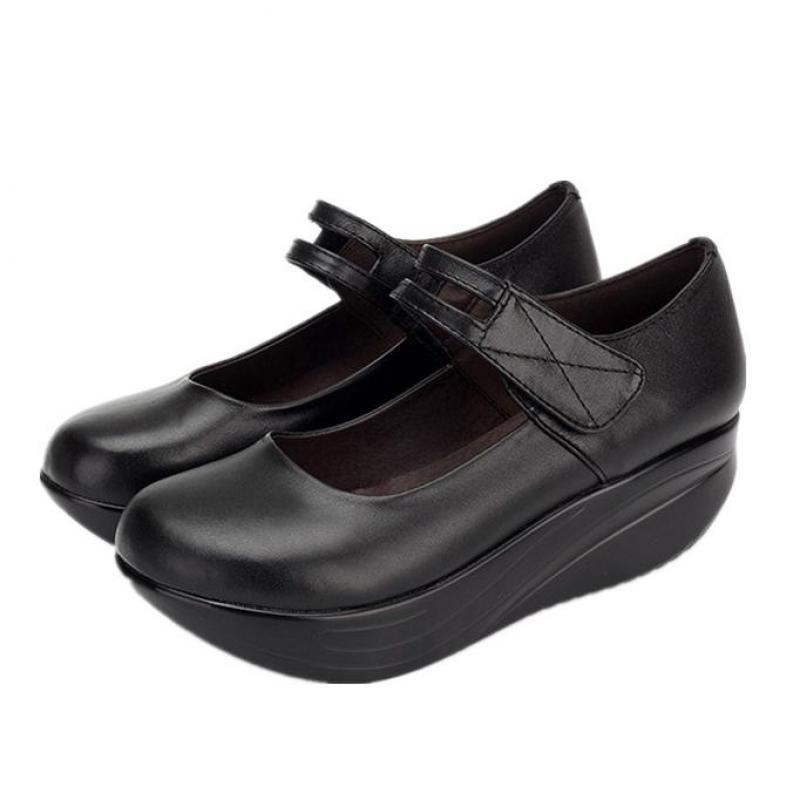 Noir forme Coince Dame Cuir De Plate Yaerni Haut En Véritable Femmes Chaussures E447 Talon mn0v8wOyN