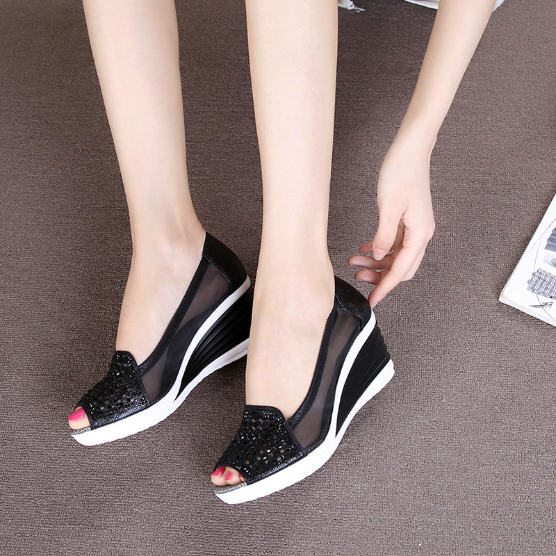 06e7c2169475 2018 Womens Wedges Shoes Peep Toe Heels Summer Mesh Shoes Lady Women s  Sandals-in Middle Heels from Shoes on Aliexpress.com
