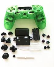 Carcasa completa de cristal transparente para mando de PS4 Pro JDS 040 JDM 040 V2, botones de caja, kit de reemplazo de placa frontal