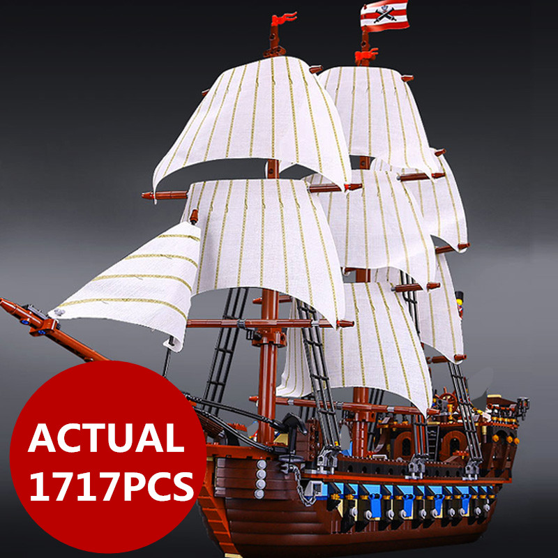 LEPIN 22001 1717pcs Pirate Ship warships Model Building Kits Block Brik Boy Educational Toys Model Gift 1717pcs Compatible 10210 lepin 22001 pirates series the imperial war ship model building kits blocks bricks toys gifts for kids 1717pcs compatible 10210