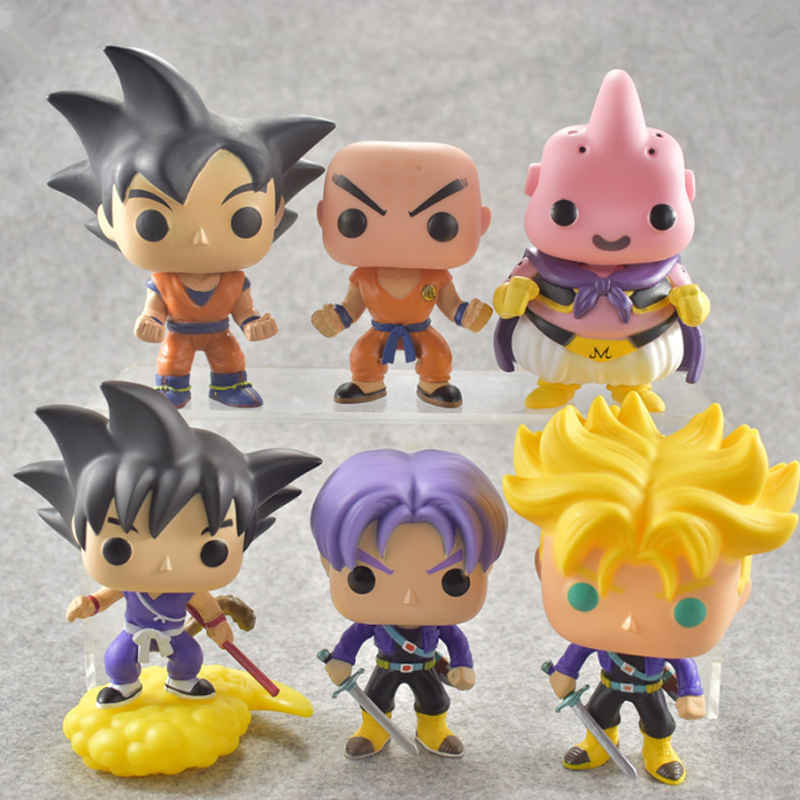 1 pcs Novelty 10cm POP Dragon Ball Model Toy Son Goku Trunks PVC Action Figure Super Saiyan Doll Collection Toy Gift For Boy