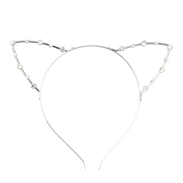Korean Cat Ear Party Pearl Crystal Rhinestone Headband Headwear Punk Hair  Silver