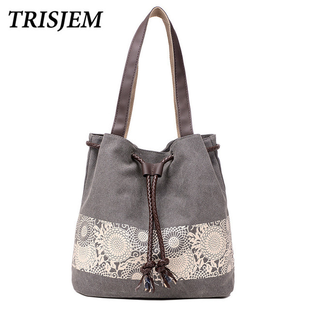 Bohemian Bucket Bag Fl Handbag Tote Beach Handbags Female Canvas Shoulder Las Bags