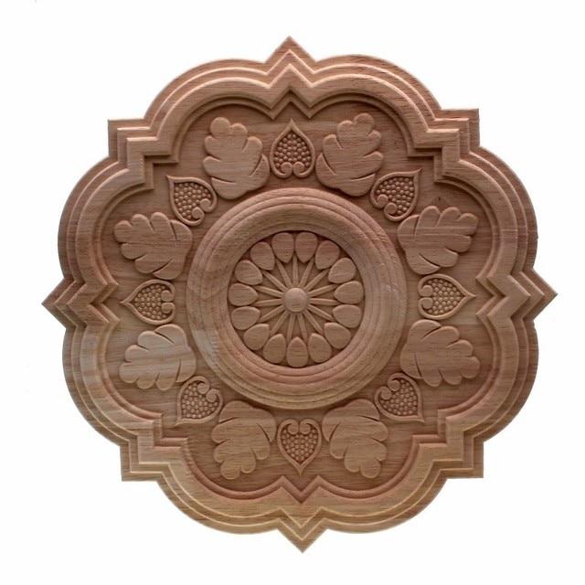 RUNBAZEF Circulaire Sculpture En Bois Naturel Appliques Meubles Cabinet Non  Peint En Bois Moulures Sticker Décoratif