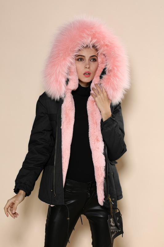 new fashion style black short jacket light pink fur. Black Bedroom Furniture Sets. Home Design Ideas