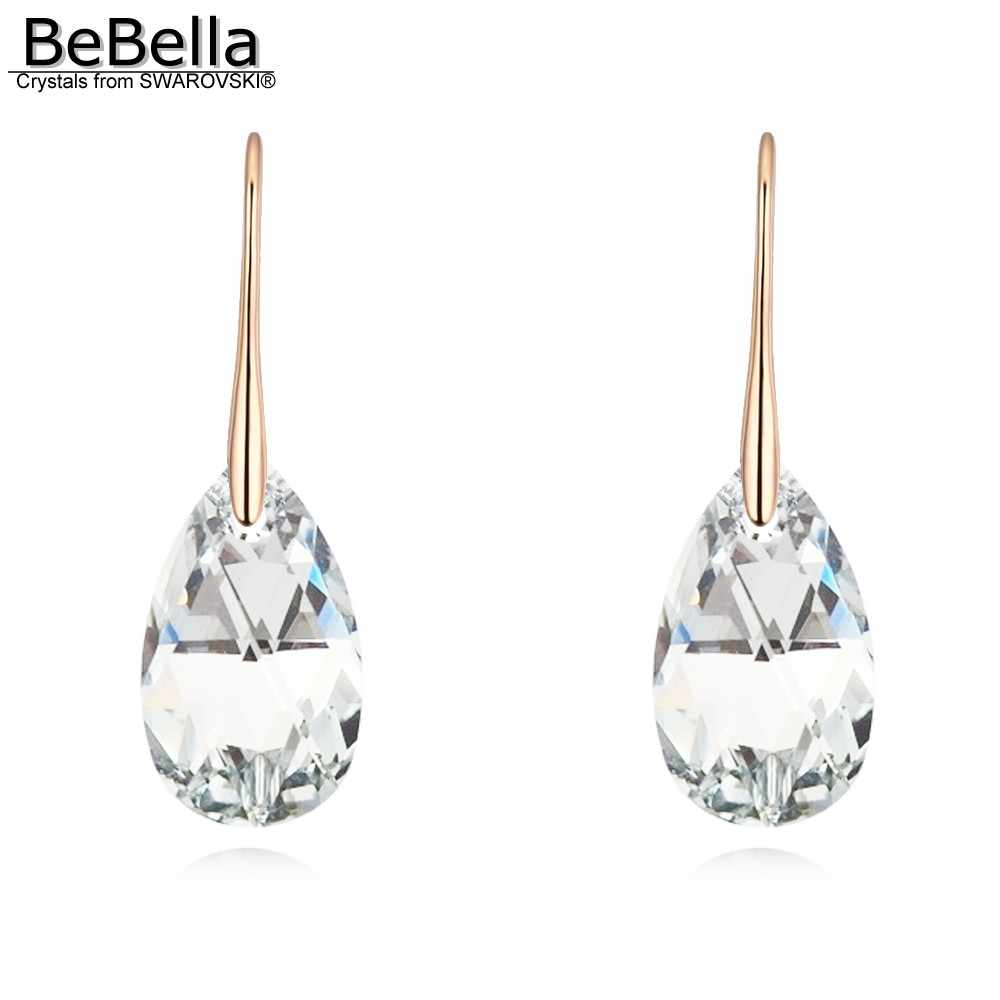 BeBella 22mm crystal drop pendant earrings with crystals from Swarovski original fashion jewelry for women lover girl gift 2018