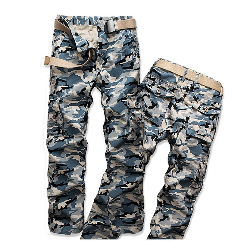 2018 New Good Quality Tactical Military Loose Camo Cargo Pants Men Camouflage Cotton Workout Men Long Casual Trousers Spring