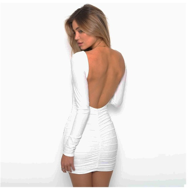 LOSSKY Solid O-neck Women Dress Backless Long Sleeve Wrap Bodycon Low Cut Sexy Club Dress Women White Black Mini Party Dress