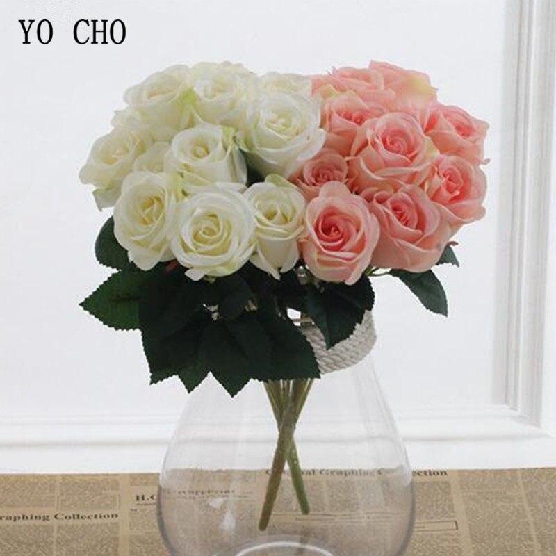 YO CHO Wedding Bouquet Bride Bridesmaid Bunch Of Flowers Artificial Silk Flower 12 Heads Rose Nosegay Pink DIY Home Party Decor