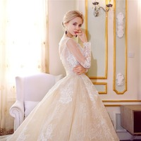 Vestido De Noiva Custom made Luxury Vintage Long Sleeves Lace Ball Gown Wedding Dresses Boat Neck champagne Dress Bridal Gowns