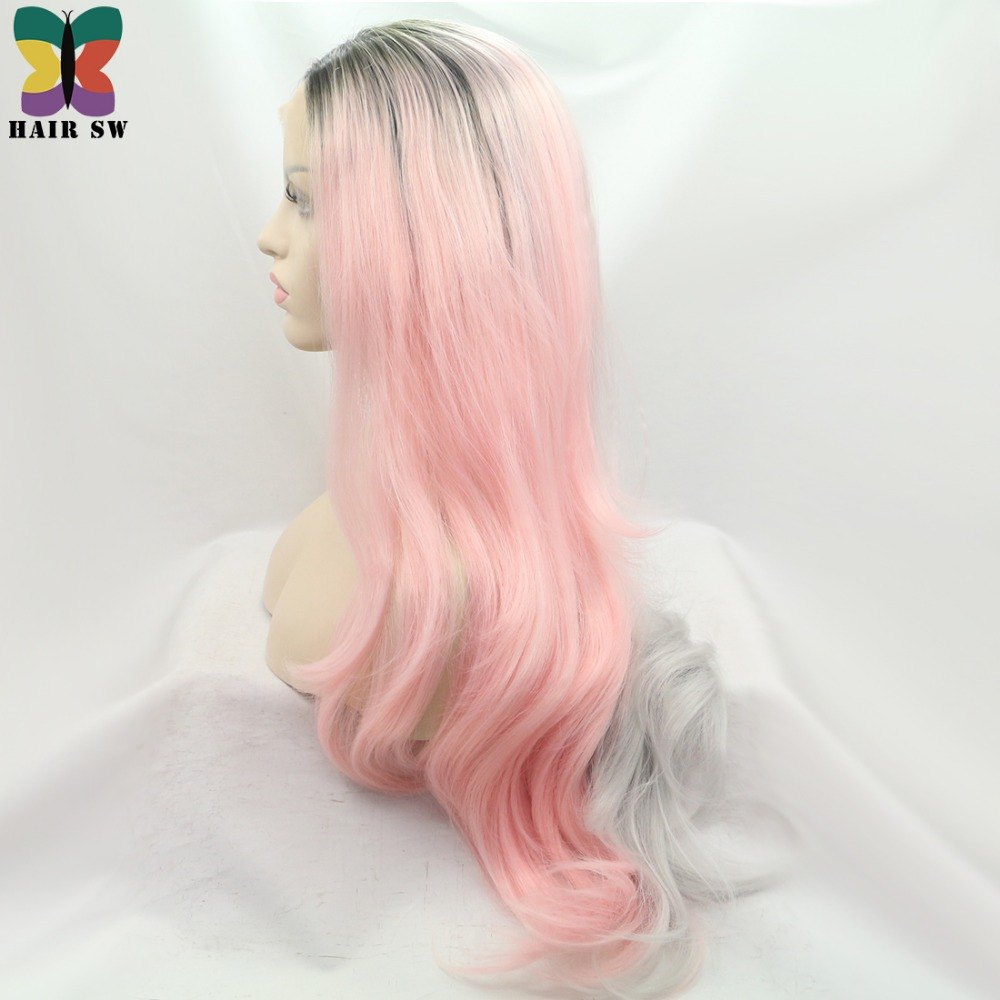 383bc857b921 HAIR SW Long Half Grey Half Pink Ombre Wavy Synthetic Lace Front Wig With  Dark Root Two tone Pastel Pink Wig women-in Synthetic None-Lace Wigs from  Hair ...