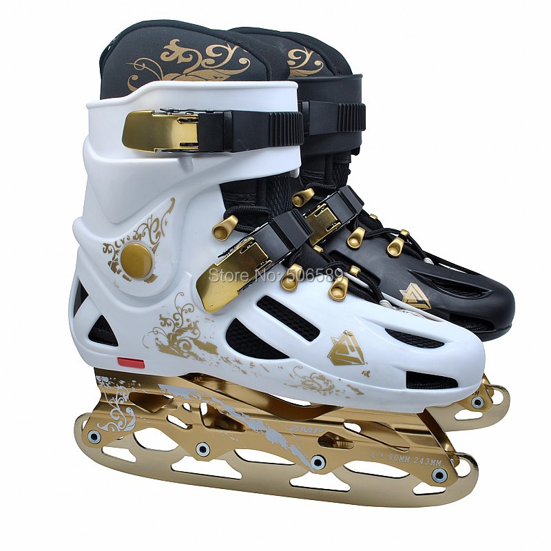 free shipping roller skates adult rich golden color #35--#46 roller skates ice skates hockey skates in one shoes vik max hot sale cheap adult white figure hockey skate shoes ice skate shoes with high carbon steel ice blade