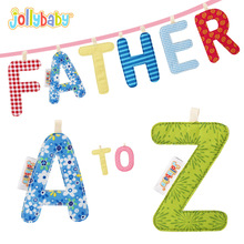 26PCS Jollybaby Alphabet A to Z letters Cloth Books Educational Toys for Children Crib Gallery Stroller Teething Hanging Decor