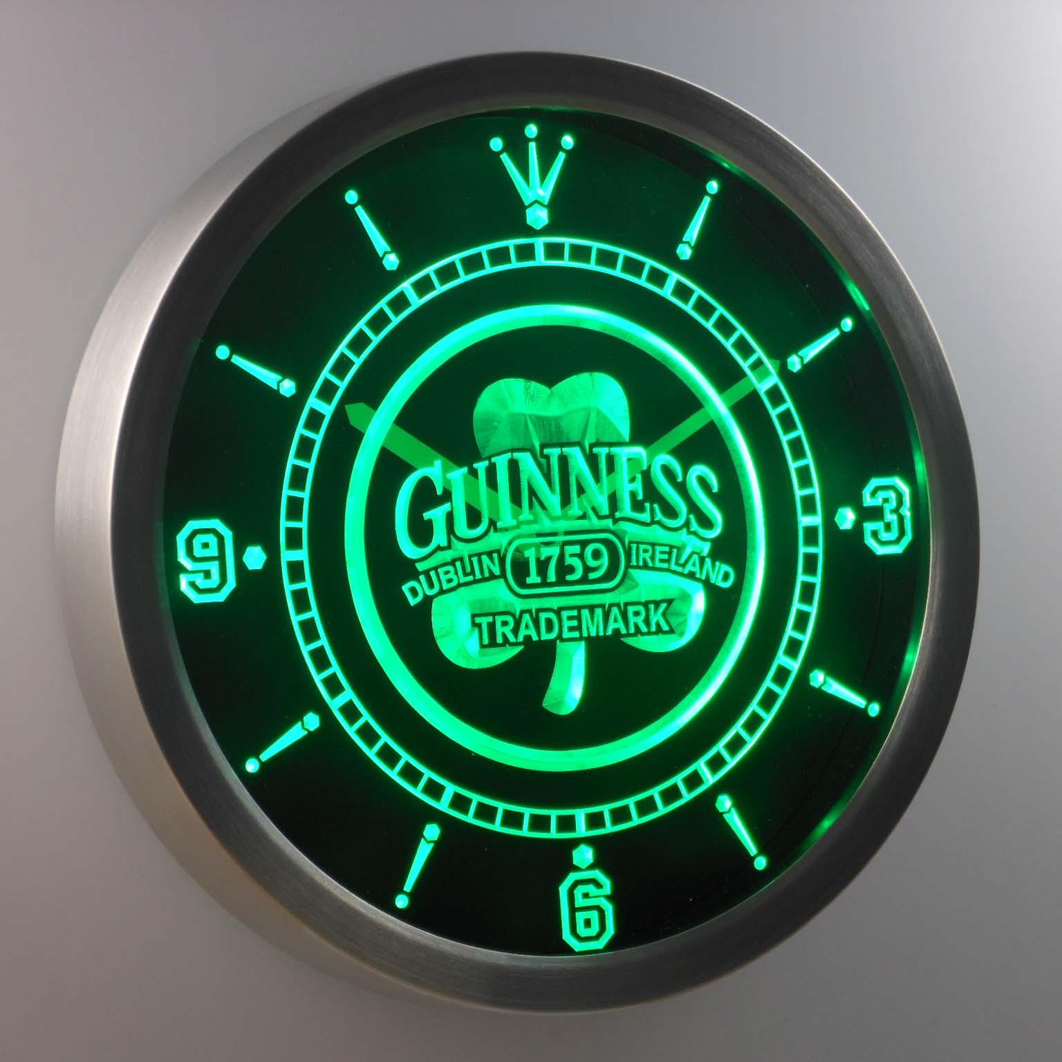 nc0108 Guinness 1759 Shamrock Bar Beer Neon Light Signs LED Wall Clock