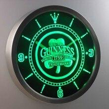 nc0108 Guinness 1759 Shamrock Bar Beer Neon Sign LED Wall Clock