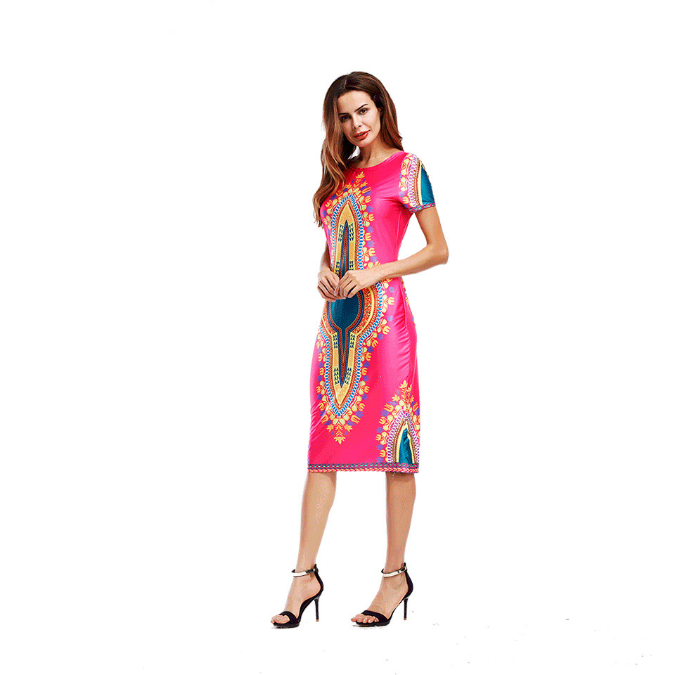 US $10 44 23% OFF|2018 new summer style online shopping india dress african  print dresses o neck Mid Calf Dress bodycon slim fashion Women clothes-in