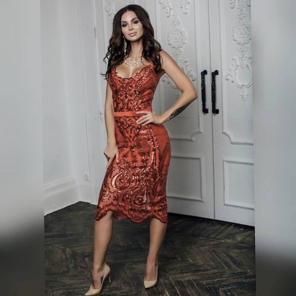 2019 Paillettes Camisole En Mini Rouge Robe Nouveau Femmes Celebrity Bandage Sans V Vin Gros Élégant Party Sexy Manches Broderie cou BrBzqpw