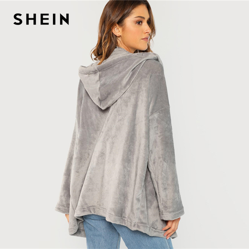 14af1beac0 SHEIN Grey Open Front Hooded Faux Fur Coat Long Sleeve Solid Highstreet 2018  Autumn Modern Lady Casual Women Coats Outerwear-in Trench from Women's  Clothing ...