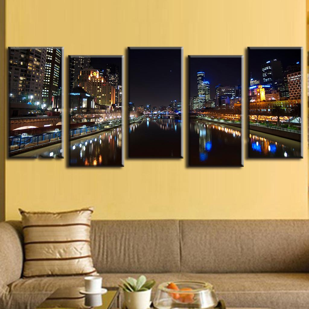 5 Pcs/Set Modern Landscape Night View of City Canvas Printed ...