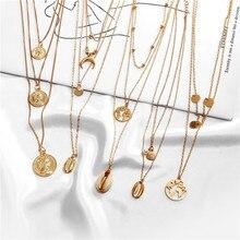 Купить 1 получить 1 подарок золотое серебряное многослойное ожерелье для женщин в виде ракушки колье и кулоны женские океанские модные ювелирные изделия