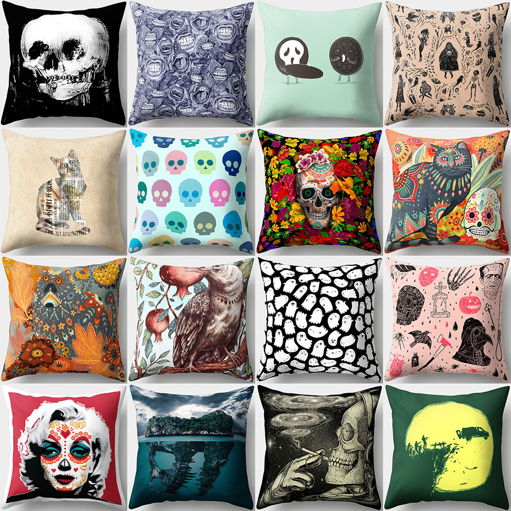 Pillowcase Punk Bohemia Paisley Skull Cushion Cover Cotton Linen Size 40*40 Printed Throw Pillows Decorative Cojines