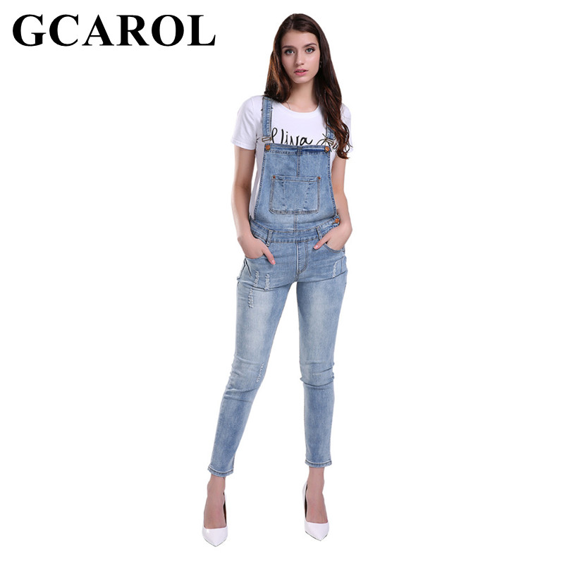 GCAROL Women Ripped Denim Jumpsuits Casual Sexy Stretch Romper Ladies Denim  Pencil Overalls Stretch 8612376ae06b