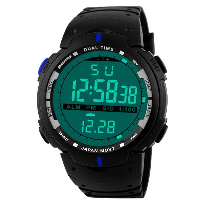 2018 NEW Fashion Men LED Digital Date Military Sport Rubber Quartz Watch Alarm Waterproof c58X цена 2017