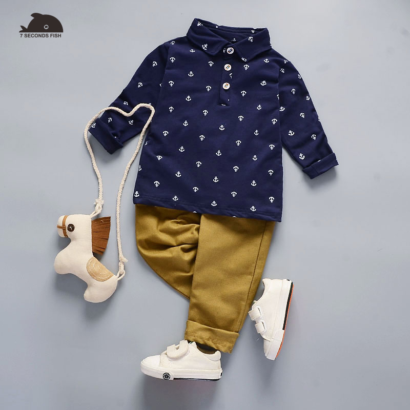 newborn baby boy clothes white blue shirt +pants ( trouser) 2 pcs outfits kids autumn spring sets 7 seconds fish brand