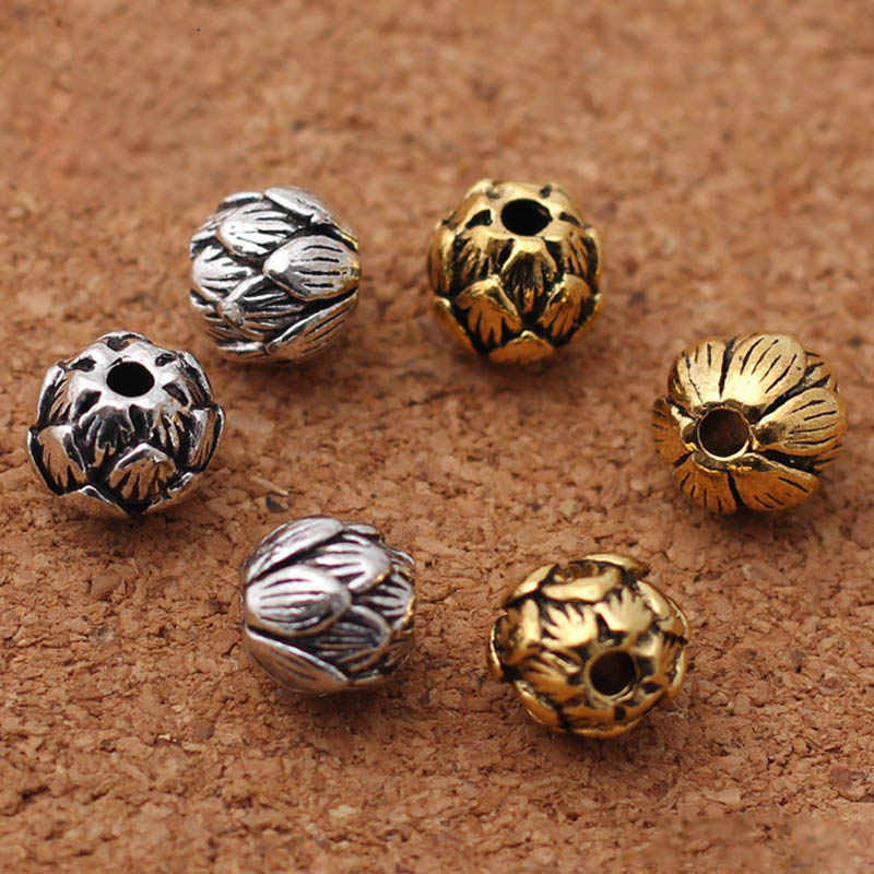 10 Pcs/lot Vintage Tibet Perak Warna Emas Lotus Pesona Beads 10 Mm Buatan Tangan Zinc Alloy Manik-manik Spacer Fit Gelang DIY perhiasan