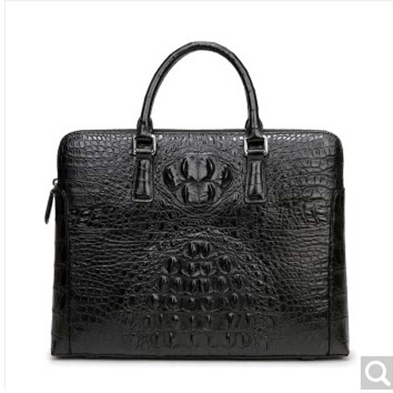 weitasi Crocodile Leather man bag handbag business briefcase fashion big bag men tote bags Black