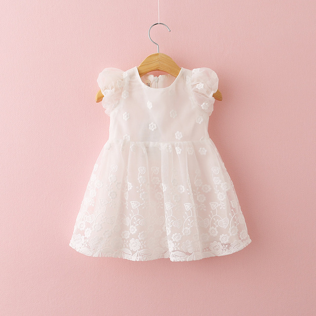Baby Girls Dress Embroidered Lace Dress Sleeveless Mesh Dresses BD0237