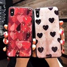 For Xiaomi Mi 8 lite Case Cute Love Heart Gold Foil Bling Glitter Phone Case For Xiaomi Mi 8 lite Soft TPU Silicone Back Cover for xiaomi mi 9 case retro cute love heart gold foil bling glitter phone case for xiaomi mi 9 cover soft tpu silicone back cover
