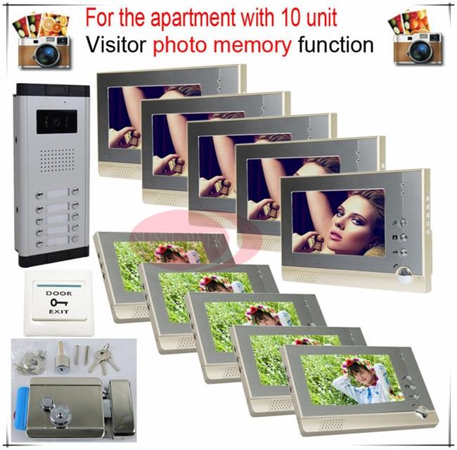 10v10 Take Photos Color Video Door Phone Intercom Doorbell System  For Ten Units Apartment  + Electronic control lock