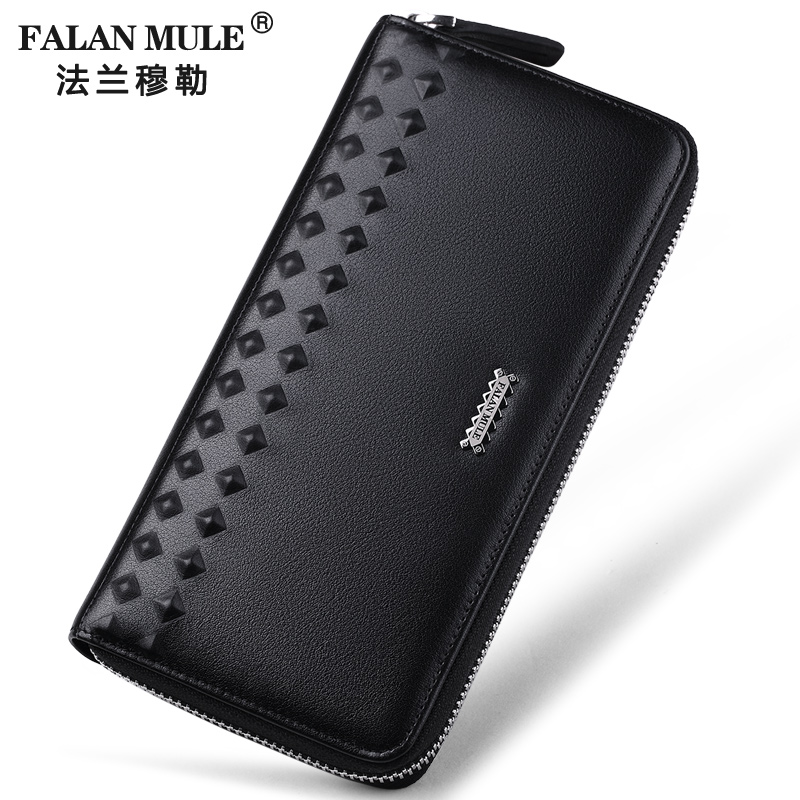 FALAN MULE Brand Fashion Men Wallets Genuine Leather Wallet Men Clutch Purse Credit Card Holder men plaid pu leather wallet light bifold fashion designer credit cards holder clutch id card organizer brand purse for men phd08