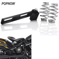 Universal Black Motorcycle Solo Seat Mount Kit Bracket W 3 Barrel Spring For Harley Softail Chopper